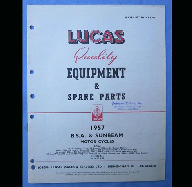 BSA SUNBEAM LUCAS MOTORCYCLE PARTS BOOK BROCHURE 1957 ROCKET A10 GOLD STAR FLASH - LITERATURE