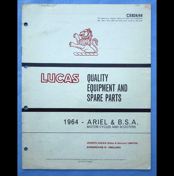 BSA ARIEL LUCAS MOTORCYCLE PARTS BOOK BROCHURE 1964 SPITFIRE LIGHTNING B40 C15 - LITERATURE