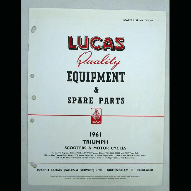 TRIUMPH LUCAS MOTORCYCLE PARTS BOOK BROCHURE 1961 PRE UNIT T120 TR6 6T T110 T100 - LITERATURE