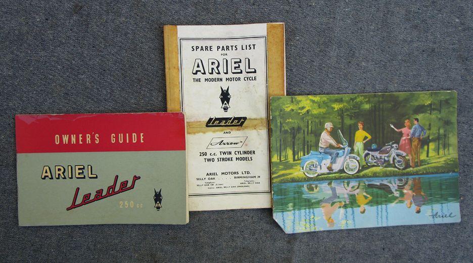 ARIEL ARROW LEADER MOTORCYCLE OWNERS MANUAL PARTS BOOK BROCHURE 2-STROKE 250CC - LITERATURE