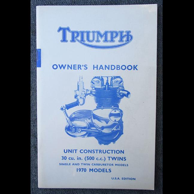 TRIUMPH MOTORCYCLE MANUAL VINTAGE BOOK 1970 500CC DAYTONA T100R TROPHY T100C 500 - LITERATURE