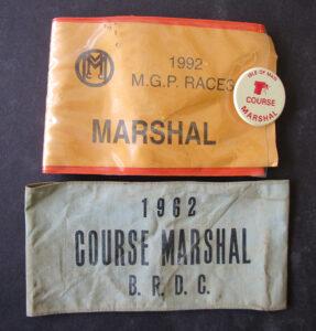 VINTAGE ISLE OF MAN TT MOTORCYCLE RACES COURSE MARSHAL ARMBAND 1962 & 1992 - MEMORABILIA
