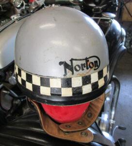 VINTAGE CROMWELL MOTORCYCLE HELMET 1960s NORTON RACING 7-1/8 PUDDING BOWL - MEMORABILIA