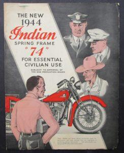 INDIAN 1944 MOTORCYCLE VINTAGE BROCHURE 74 CHIEF SPRING FRAME SIDECAR SIDEVAN  - MEMORABILIA