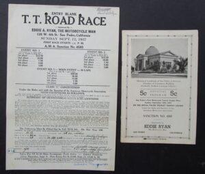 VINTAGE 1937 MOTORCYCLE RACING PROGRAM & ENTRY BLANK T.T. ROAD RACE HARLEY  - MEMORABILIA