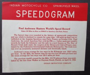 VINTAGE INDIAN MOTOCYCLE SPEEDOGRAM MOTORCYCLE WORLDS SPEED RECORD 1920s 159 mph - MEMORABILIA