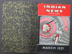 INDIAN MOTORCYCLE NEWS MAGAZINE RARE BINDER 1931 MOTOCYCLE 30TH ANNIVERSARY No. - LITERATURE