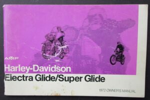 1972 VINTAGE HARLEY MOTORCYCLE OWNERS BOOK ELECTRA SUPER GLIDE MANUAL FX FLH AMF - LITERATURE
