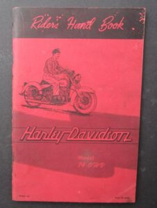 VINTAGE HARLEY MOTORCYCLE RIDERS HAND BOOK 74 RIGID TWIN CYLINDER MANUAL 1955 - LITERATURE