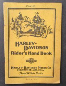 VINTAGE HARLEY MOTORCYCLE RIDERS HAND BOOK 80 74 TWIN CYLINDER MANUAL EL FL 1936 - LITERATURE