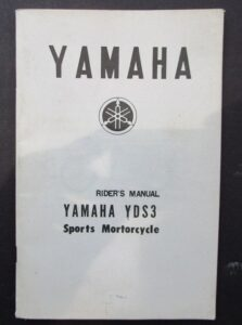 YAMAHA YDS3 SPORTS MOTORCYCLE RIDERS MANUAL HAND BOOK YDS 1960s TWO STROKE  - LITERATURE