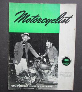 1942 MOTORCYCLIST MOTORCYCLE MAGAZINE/BOOK BING CROSBY ED KRETZ INDIAN HARLEY WD - LITERATURE