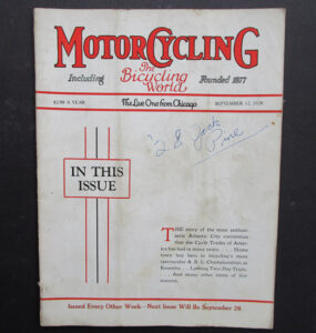 1928 MOTORCYCLING BICYCLING WORLD MAGAZINE INDIAN EXCELSIOR SUPER X RACING  - LITERATURE