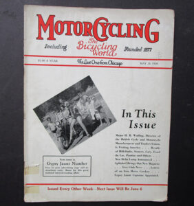 1928 MOTORCYCLING BICYCLING WORLD MAGAZINE INDIAN RACING EXCELSIOR HARLEY GYPSY JAUNT   - LITERATURE