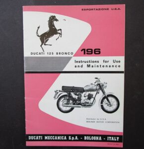 VINTAGE DUCATI 125 BRONCO MOTORCYCLE HAND BOOK LIGHTWEIGHT SINGLE MANUAL 1960s - LITERATURE