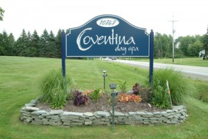 The business sign for Coventina Day Spa in Waterford, PA