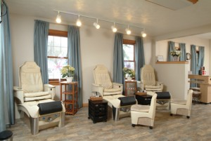 Several of the therapeutic pedicure chairs at Coventina Day Spa in Waterford, PA