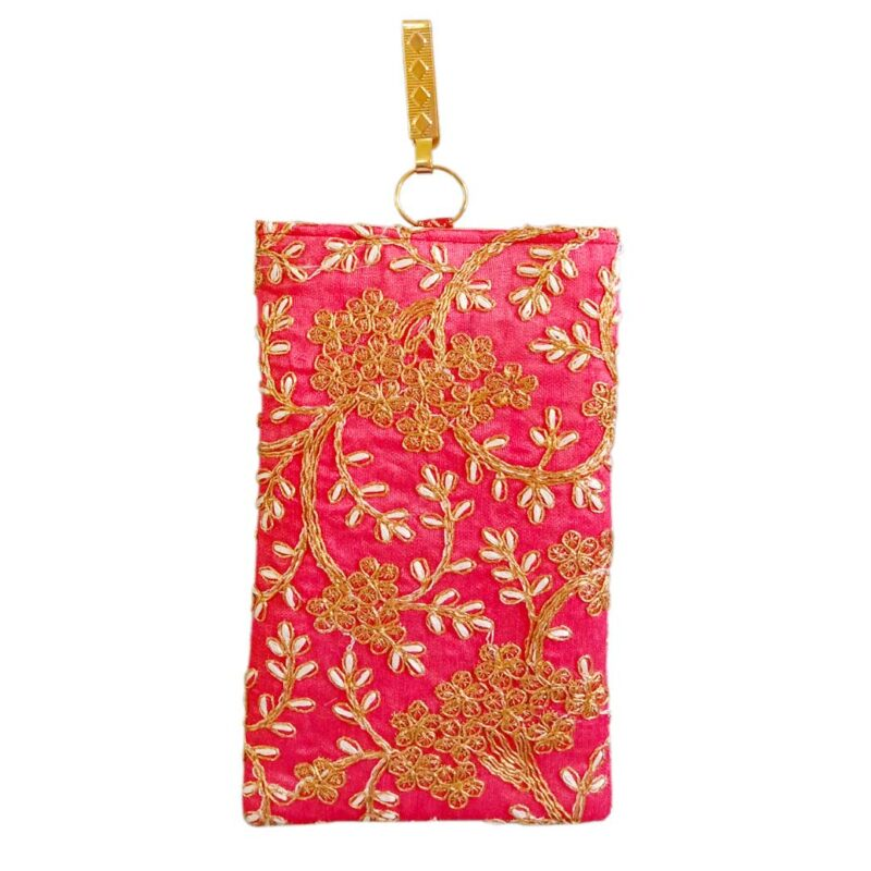 Pink mobile saree pouch image view 8