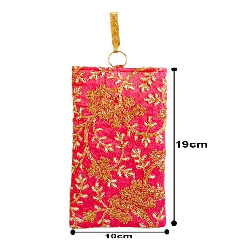 Pink mobile saree pouch image view 7