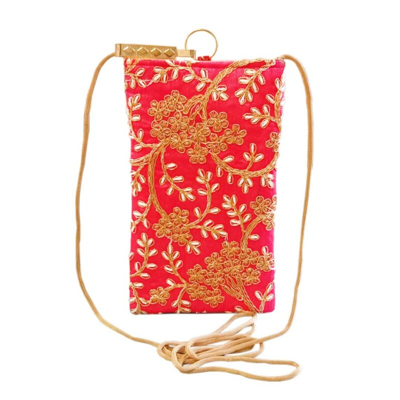 Pink mobile saree pouch image view 5