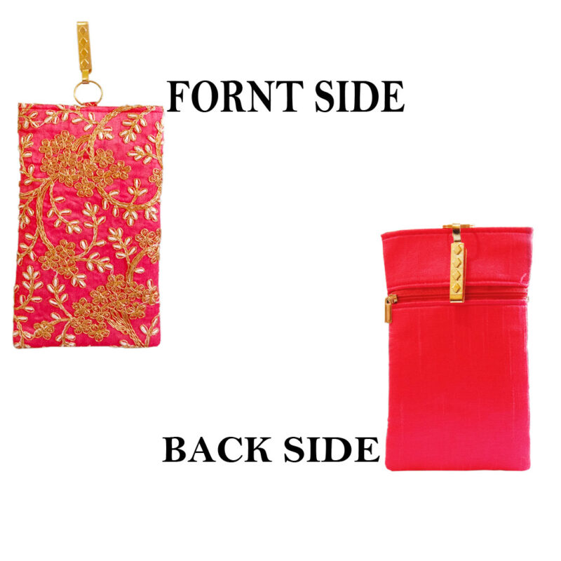 Pink mobile saree pouch image view 2