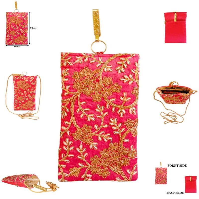 Pink mobile saree pouch image