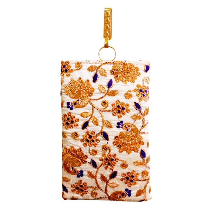 mobile saree pouch with blue leaf image view 8