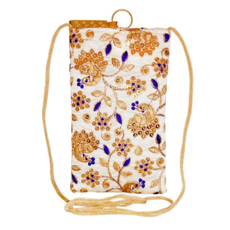 mobile saree pouch with blue leaf image view 6