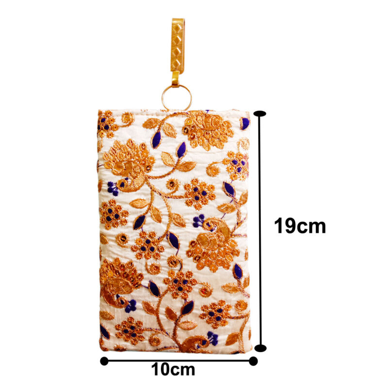 mobile saree pouch with blue leaf image view 4