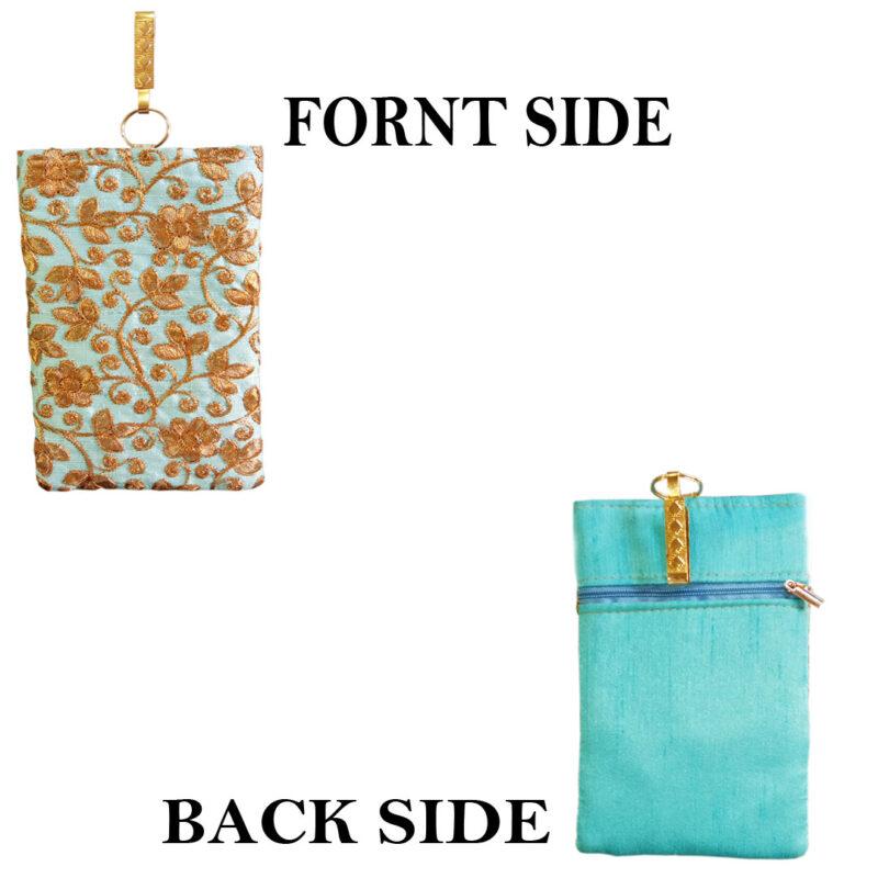 Aqua mobile saree pouch image view 2