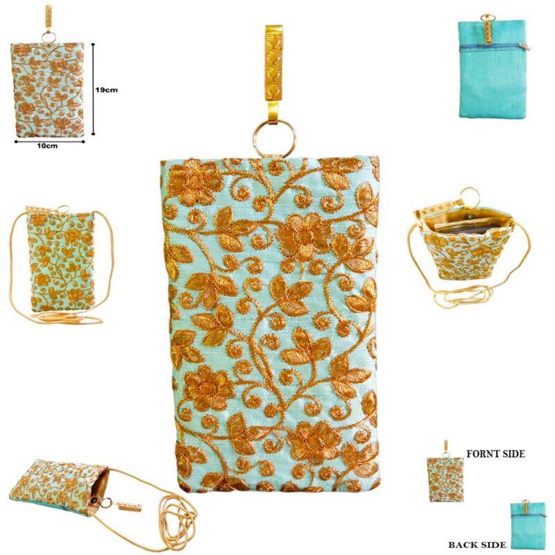 Aqua mobile saree pouch