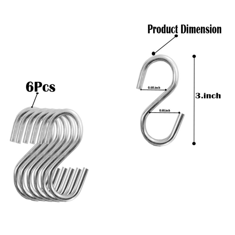 Multipurpose Stainless Steel S Hook 3 Inch - 6PCs-Image View 3