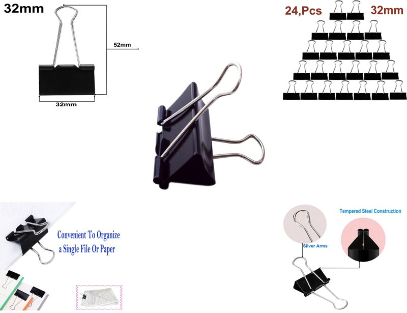 binder clips -12 pcs