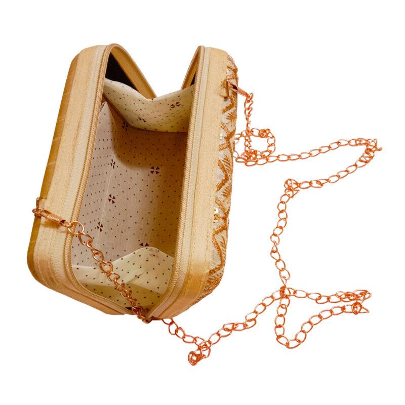 golden designer clutch box image view 6