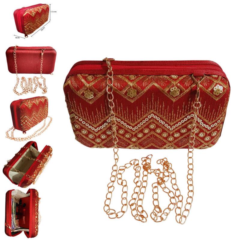 red designer clutch box image