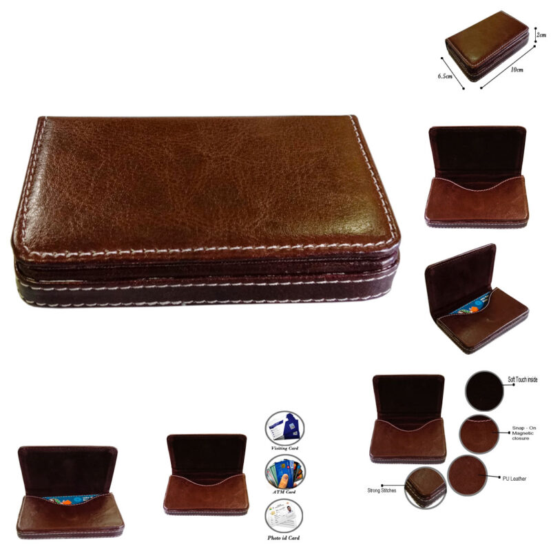 leather card holder square - image