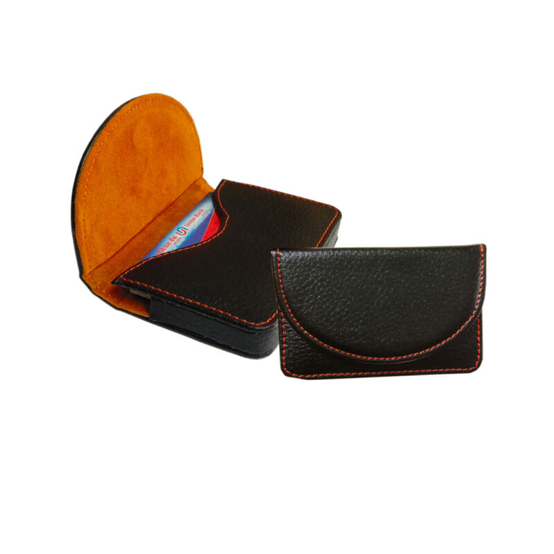 leather round card holder black image view 6
