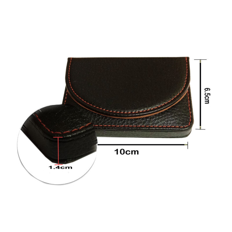 leather round card holder black image view 5