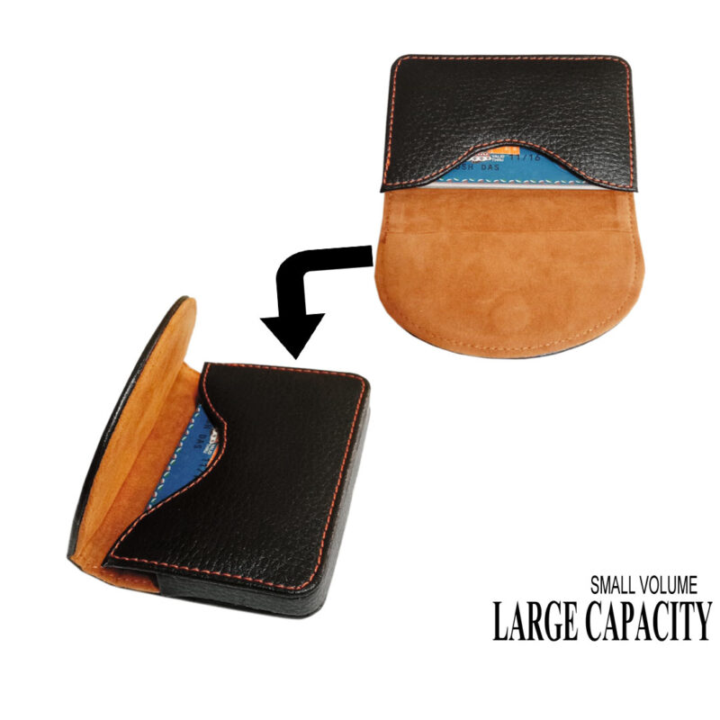 leather round card holder black image view 3
