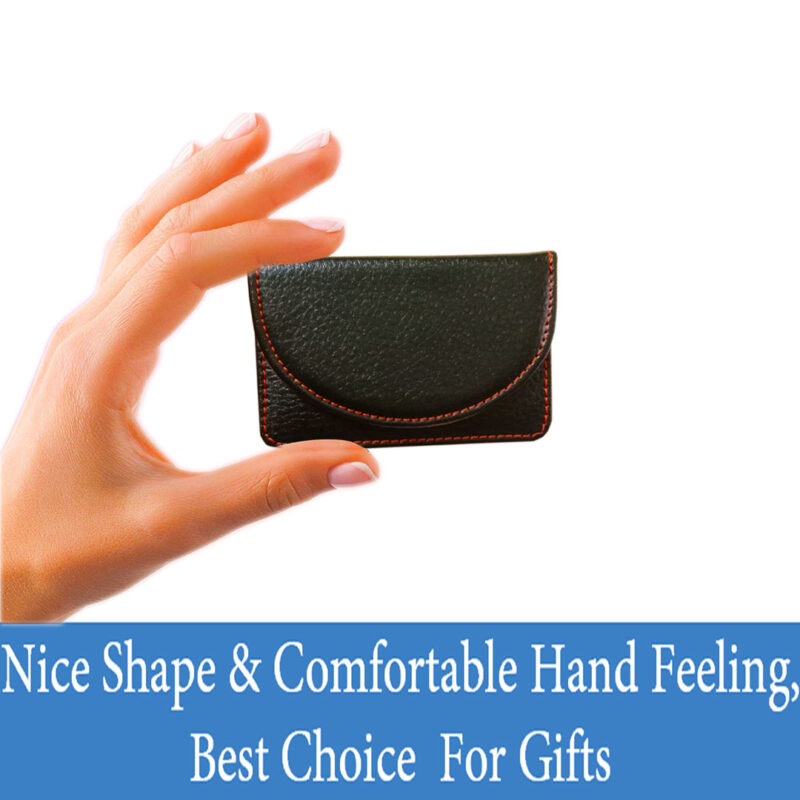 leather round card holder black image view 2