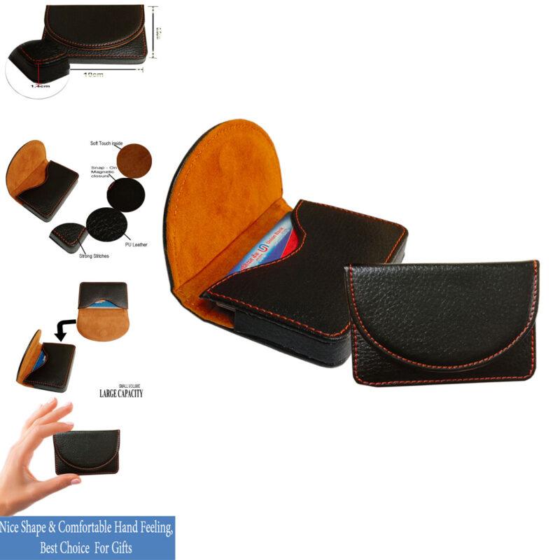 leather round card holder black