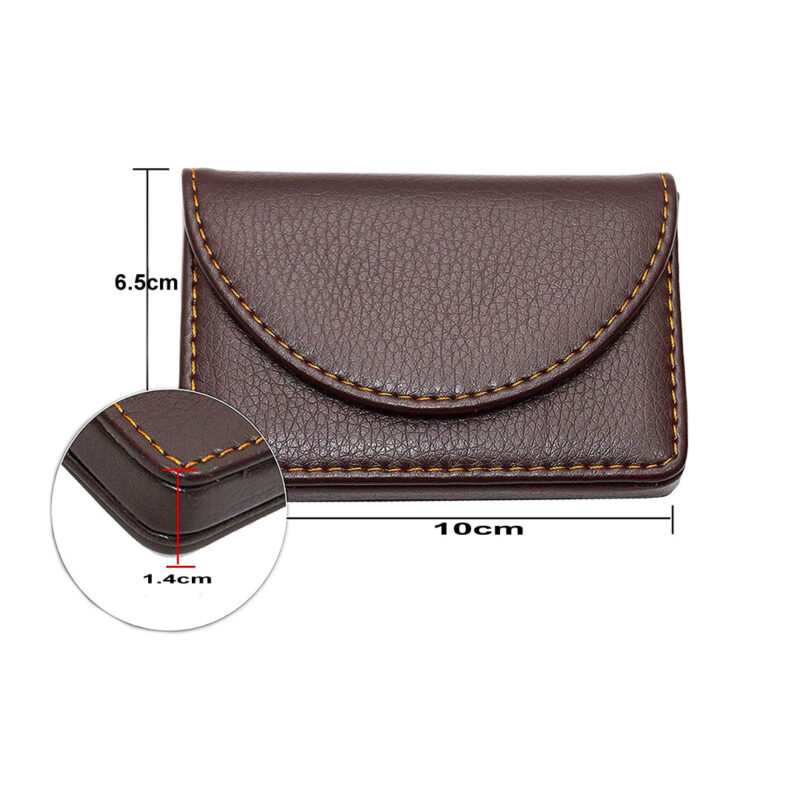 leather round shape card holder image view 4
