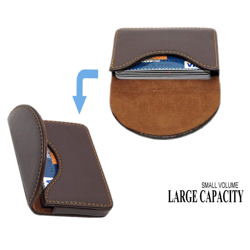 leather round shape card holder image view 2