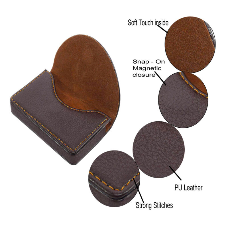 leather round shape card holder