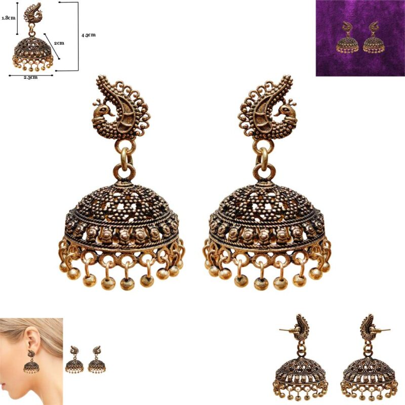 peacock jhumka with beads