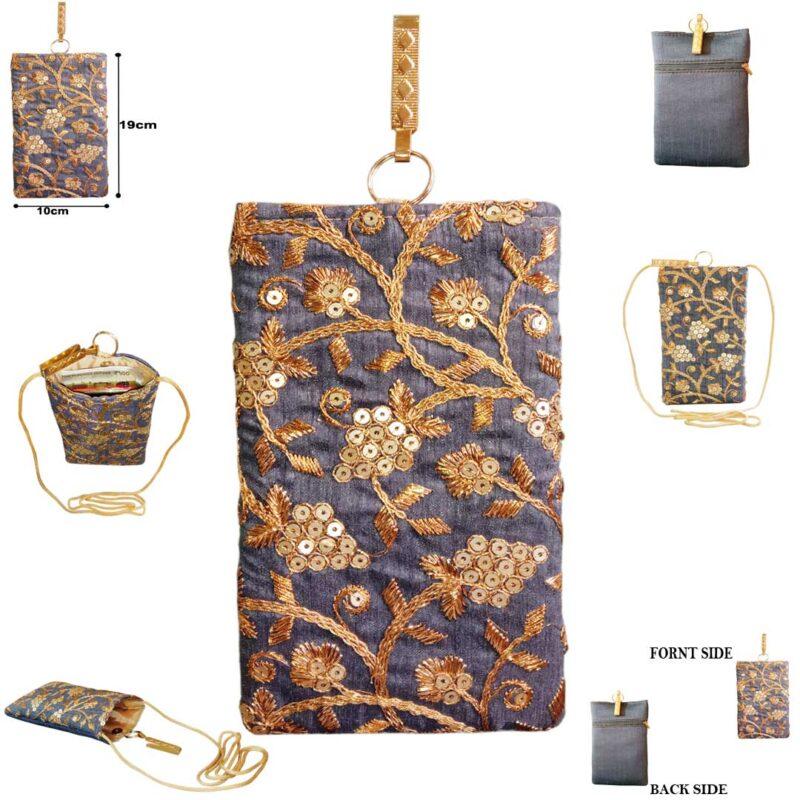 blue mobile saree pouch image