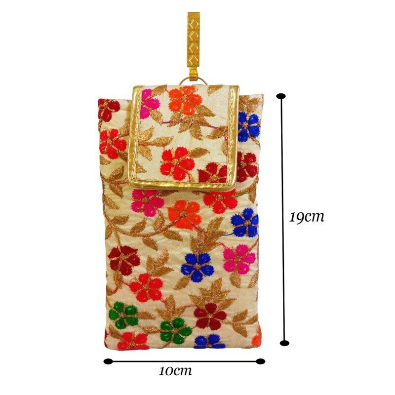 multicolor mobile saree pouch image view 3
