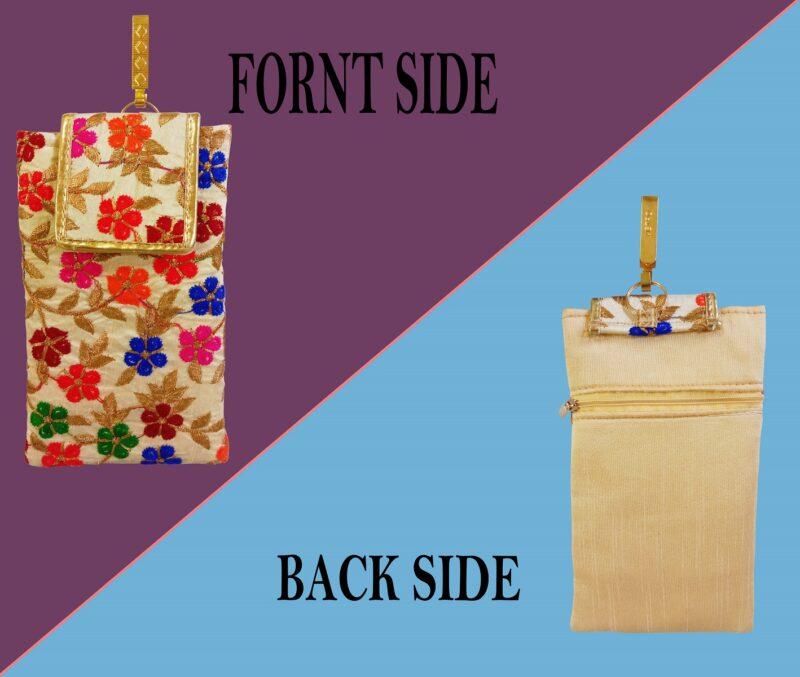 multicolor mobile saree pouch image view 2