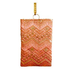 peach color mobile saree pouch image view 5