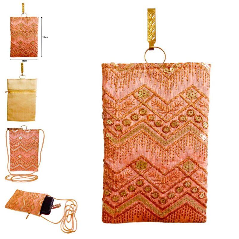 peach color mobile saree pouch